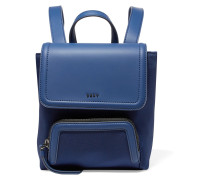 Mini Leather-trimmed Twill And Rubber Backpack Rauchblau