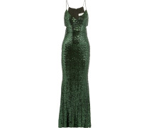 Cutout Sequined Tulle Gown Smaragdgrün