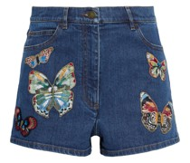 Appliquéd Denim Shorts