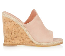 Vala Suede Wedge Sandals Beige