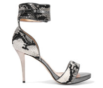 Thesus Snake-effect Calf Hair Sandals Schokoladenbraun