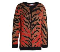 Zebra-print knitted sweater