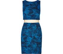 Paradise Cove Leaf-print Jersey Mini Dress Ultramarin