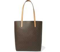 Hayley Printed Textured-leather Tote Braun
