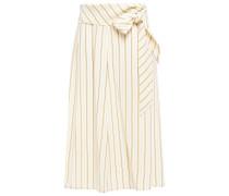 Knotted Striped Silk-satin Midi Skirt