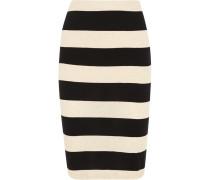 Striped Cotton And Linen-blend Jersey Pencil Skirt Schwarz