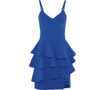 Ruffled Crepe Peplum Mini Dress Kobaltblau