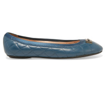 Bella Quilted Leather Ballet Flats Petrol