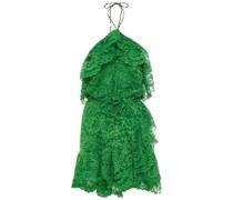 Ruffled Floral-appliquéd Corded Lace Halterneck Mini Dress
