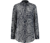 Simara Printed Silk-chiffon Blouse Mitternachtsblau