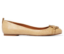 Mini Miller Textured-leather Ballet Flats Champignon