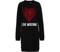 Woman Crystal-embellished Printed French Cotton-blend Terry Mini Dress Black