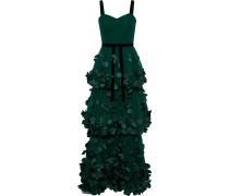 Velvet-trimmed Floral-appliquéd Tulle Gown