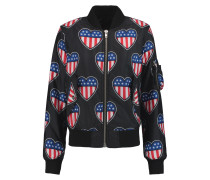 Printed Padded Shell Bomber Jacket Schwarz