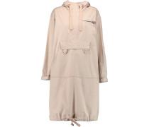 Appliquéd Cotton-blend Hooded Coat Beige