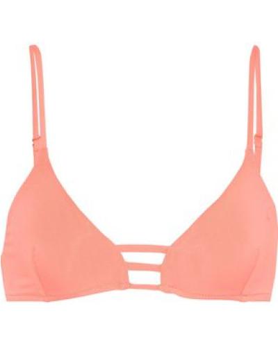 Perth Lattice-trimmed Triangle Bikini Top Peach