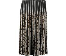 Pleated printed silk skirt
