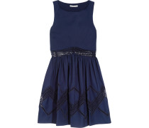 Tess Crochet-trimmed Cotton Mini Dress Rauchblau