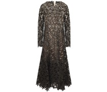 Sequin-embellished Metallic Guipure Lace And Mesh Midi Dress