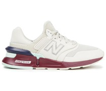 Color-block Leather And Mesh Sneakers