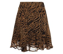 Tiger-print Georgette Mini Skirt