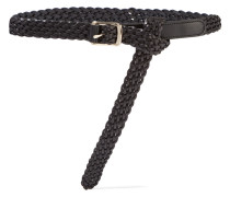 Woven Leather Belt Schwarz