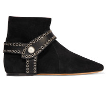 Largo Leather-trimmed Suede Ankle Boots Schwarz