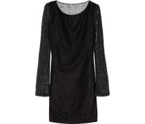 Caramia paneled velour and corded lace mini dress