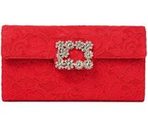 Envelope Crystal-embellished Corded Lace Clutch