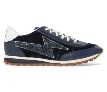 Astor Jogger Glitter-paneled Suede And Leather Sneakers Navy
