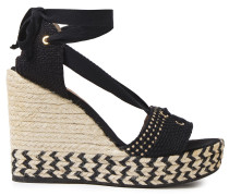 Lace-up Woven Cotton Wedge Espadrille Sandals