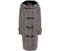 Faux Fur-trimmed Checked Wool-blend Hooded Coat