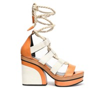 Leather And Canvas Sandals