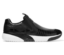 Set Textured-leather Slip-on Sneakers Schwarz