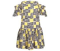 Off-the-shoulder Printed Silk-satin Mini Dress Knallgelb