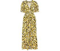 Ariel Kleid aus Einer Baumwoll-seidenmischung mit Floralem Print und Rüschen