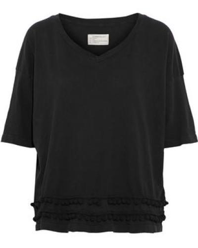 Pompom-embellished Cotton-jersey Top Black Size 0