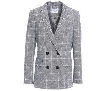 Double-breasted Checked Linen And Cotton-blend Jacquard Blazer