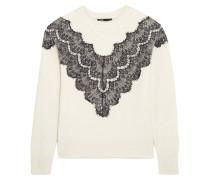 Malto Lace-paneled Knitted Sweater Ecru