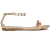 Crystal-embellished Metallic Leather Sandals Gold