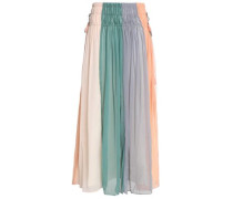 Pleated color-block crinkled georgette maxi skirt