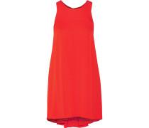 Silk-blend Crepe De Chine Mini Dress Tomatenrot