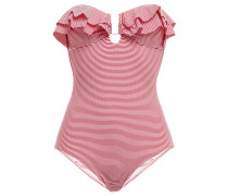 Corfu Ruffled Striped Bandeau Swimsuit