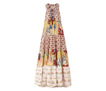 Tiered Metallic-trimmed Printed Cotton-blend Voile Maxi Dress