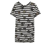 Bedrucktes T-shirt aus Baumwoll-jersey mit Flammgarneffekt und Cut-outs
