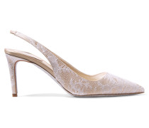Lace And Satin Pumps Beige