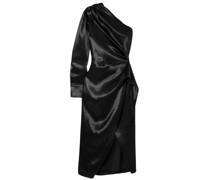 One-shoulder Draped Satin Wrap-effect Dress