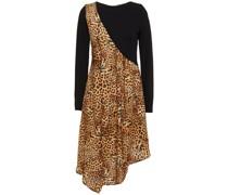 Asymmetrisches Kleid mit Einsätzen aus Jersey und Satin mit Leopardenprint
