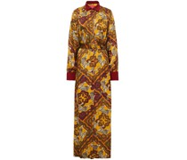 Febo Belted Hammered Satin-jacquard Maxi Shirt Dress