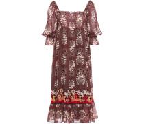 Shirred Printed Silk-chiffon Midi Dress